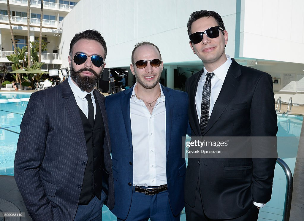 Actor Eshref Durmishi, filmmakers <a gi-track='captionPersonalityLinkClicked' href=/galleries/search?phrase=Jamie+Donoughue&family=editorial&specificpeople=15401505 ng-click='$event.stopPropagation()'>Jamie Donoughue</a> and <a gi-track='captionPersonalityLinkClicked' href=/galleries/search?phrase=Adam+Benzine&family=editorial&specificpeople=8809965 ng-click='$event.stopPropagation()'>Adam Benzine</a> attend the 88th Annual Academy Awards nominee luncheon on February 8, 2016 in Beverly Hills, California.