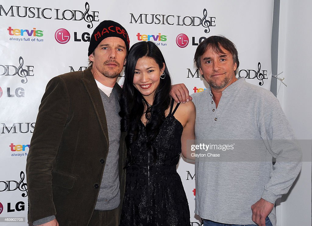 Actor <a gi-track='captionPersonalityLinkClicked' href=/galleries/search?phrase=Ethan+Hawke&family=editorial&specificpeople=178274 ng-click='$event.stopPropagation()'>Ethan Hawke</a>, actress Kimmy Lai and director <a gi-track='captionPersonalityLinkClicked' href=/galleries/search?phrase=Richard+Linklater&family=editorial&specificpeople=242770 ng-click='$event.stopPropagation()'>Richard Linklater</a> attend The 10th Anniversary LG Music Lodge At Sundance With Elio Motors And Tervis on January 19, 2014 in Park City, Utah.