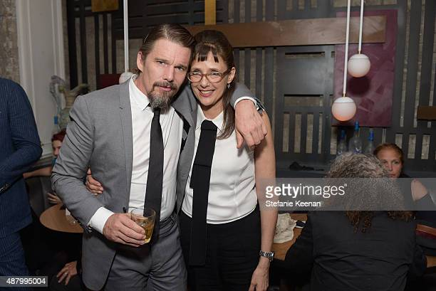 Actor Ethan Hawke and director Rebecca Miller attend the Maggie's Plan TIFF party hosted by GREY GOOSE Vodka at Byblos on September 12 2015 in...
