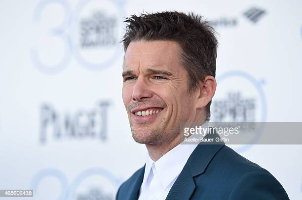 Actor Ethan Hawke arrives at the 2015 Film Independent Spirit Awards on February 21 2015 in Santa Monica California