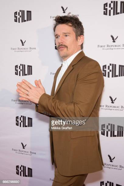 Actor Ethan Hawke arrives at the 60th San Francisco International Film Festival tribute to Ethan Hawke at Yerba Buena Center for the Arts on April 8...
