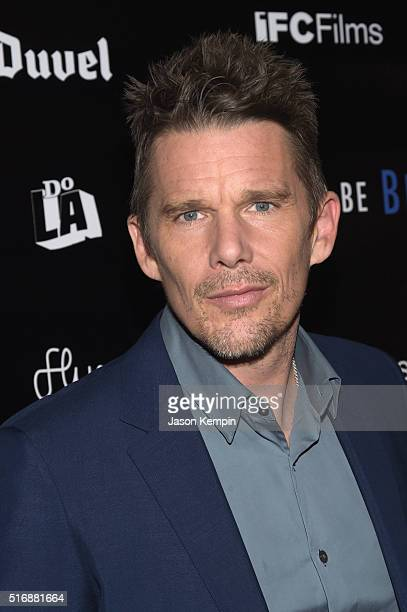 Actor Ethan Hawke arrives during the premiere of IFC Films' 'Born To Be Blue' at the Regent Theater on March 21 2016 in Los Angeles California