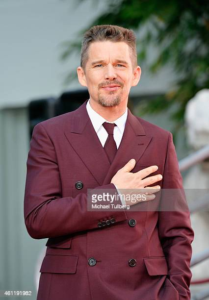 Actor Ethan Hawke attends a ceremony to place his handprints and footprints in cement at TCL Chinese Theatre on January 8 2015 in Hollywood California