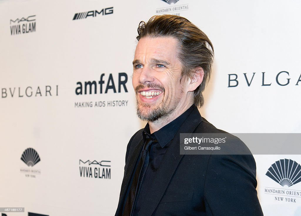 Actor Ethan Hawke attends the 2014 amfAR New York Gala at Cipriani Wall Street on February 5, 2014 in New York City.