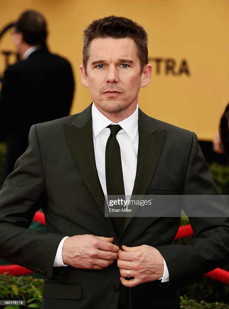 Actor <a gi-track='captionPersonalityLinkClicked' href=/galleries/search?phrase=Ethan+Hawke&family=editorial&specificpeople=178274 ng-click='$event.stopPropagation()'>Ethan Hawke</a> attends the 21st Annual Screen Actors Guild Awards at The Shrine Auditorium on January 25, 2015 in Los Angeles, California.