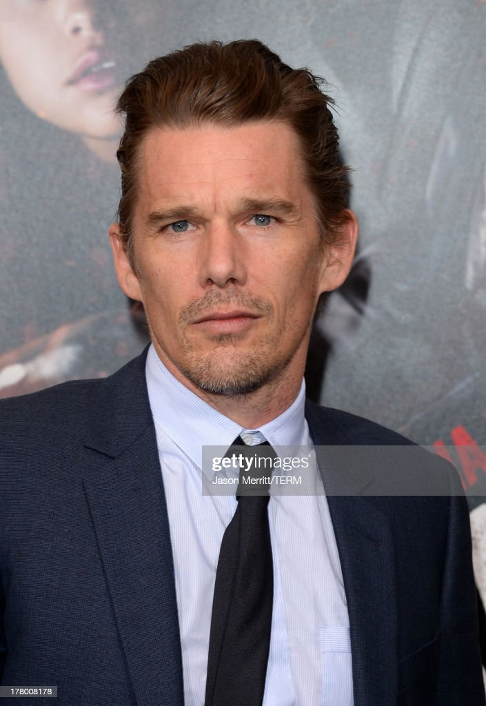 Actor <a gi-track='captionPersonalityLinkClicked' href=/galleries/search?phrase=Ethan+Hawke&family=editorial&specificpeople=178274 ng-click='$event.stopPropagation()'>Ethan Hawke</a> attends the premiere of 'Getaway' presented by Warner Bros. Pictures at Regency Village Theatre on August 26, 2013 in Westwood, California.