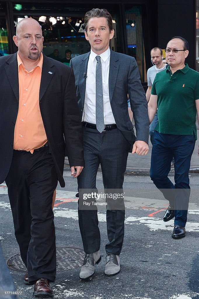 Actor <a gi-track='captionPersonalityLinkClicked' href=/galleries/search?phrase=Ethan+Hawke&family=editorial&specificpeople=178274 ng-click='$event.stopPropagation()'>Ethan Hawke</a> enters the 'Good Morning America' taping at the ABC Times Square Studio on August 21, 2013 in New York City.