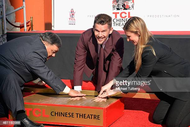 Actor Ethan Hawke gets his handprints and footprints placed in cement at TCL Chinese Theatre on January 8 2015 in Hollywood California