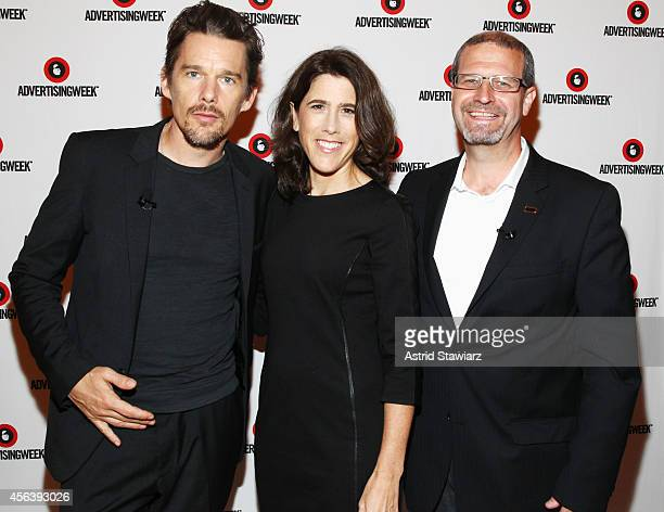 Actor Ethan Hawke Global VP Advertising Sales at Amazon Media Lisa Utzschneider and IMDb Managing Editor Keith Simanton attend as IMDb films live...