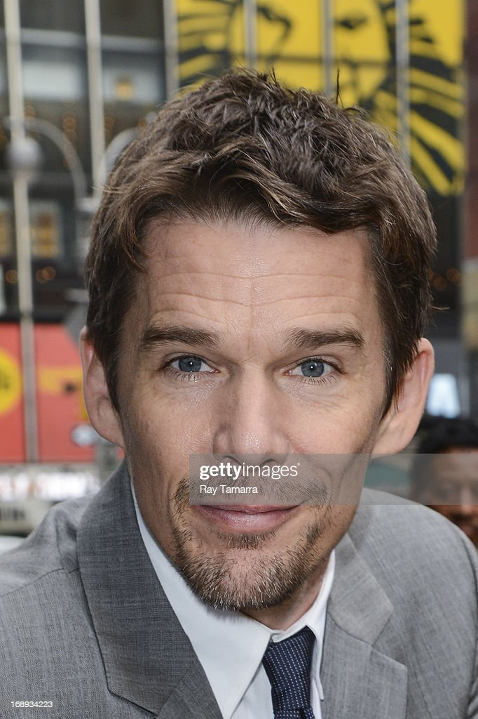 Actor <a gi-track='captionPersonalityLinkClicked' href=/galleries/search?phrase=Ethan+Hawke&family=editorial&specificpeople=178274 ng-click='$event.stopPropagation()'>Ethan Hawke</a> leaves the 'Good Morning America' taping at the ABC Times Square Studios on May 17, 2013 in New York City.