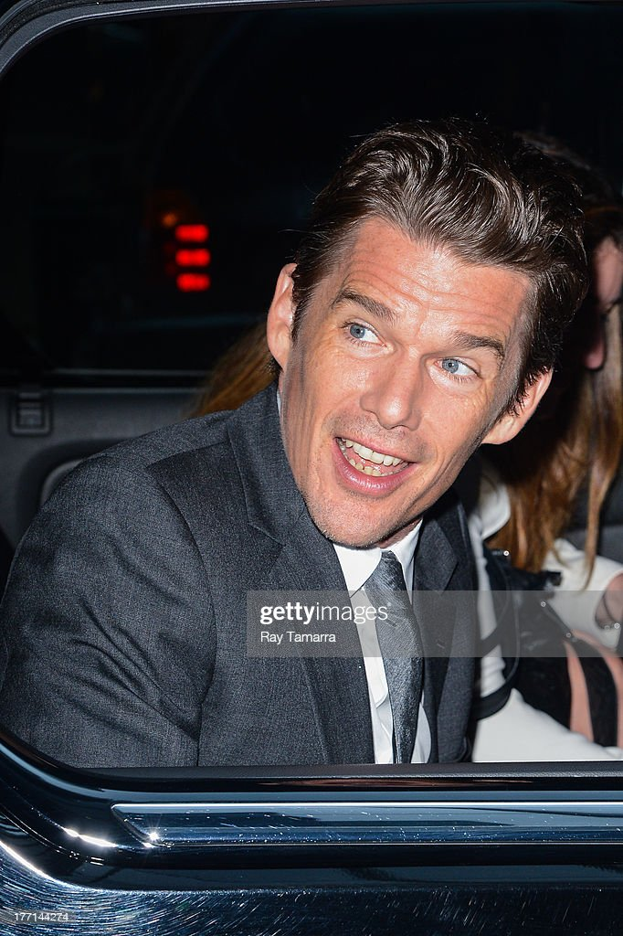 Actor <a gi-track='captionPersonalityLinkClicked' href=/galleries/search?phrase=Ethan+Hawke&family=editorial&specificpeople=178274 ng-click='$event.stopPropagation()'>Ethan Hawke</a> leaves the 'Good Morning America' taping at the ABC Times Square Studio on August 21, 2013 in New York City.