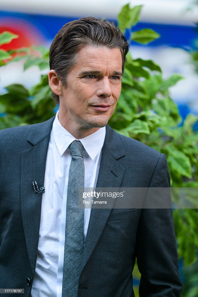 Actor Ethan Hawke tapes an interview at 'Good Morning America' at the ABC Times Square Studio on August 21, 2013 in New York City.
