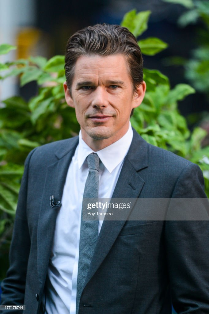 Actor <a gi-track='captionPersonalityLinkClicked' href=/galleries/search?phrase=Ethan+Hawke&family=editorial&specificpeople=178274 ng-click='$event.stopPropagation()'>Ethan Hawke</a> tapes an interview at 'Good Morning America' at the ABC Times Square Studio on August 21, 2013 in New York City.