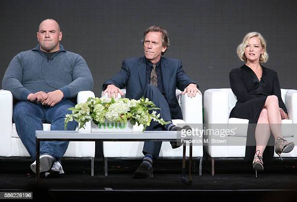 Actor Ethan Suplee executive producer/actor Hugh Laurie and actress Gretchen Mol speak onstage at the 'Chance' panel discussion during the Hulu...