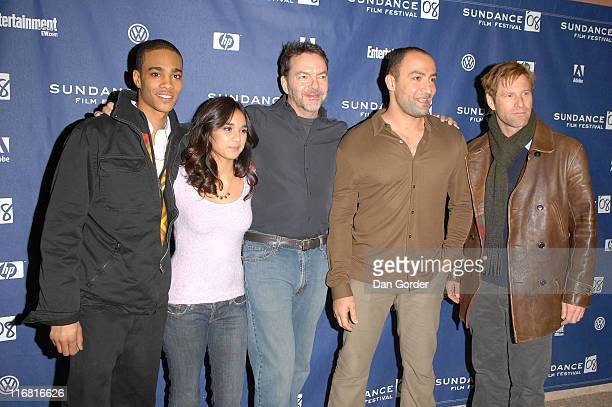 Actor Eugene Jones actress Summer Bishil director Alan Ball actor Peter Macdissi and actor Aaron Eckhart attend the premiere of 'Towelhead' at the...