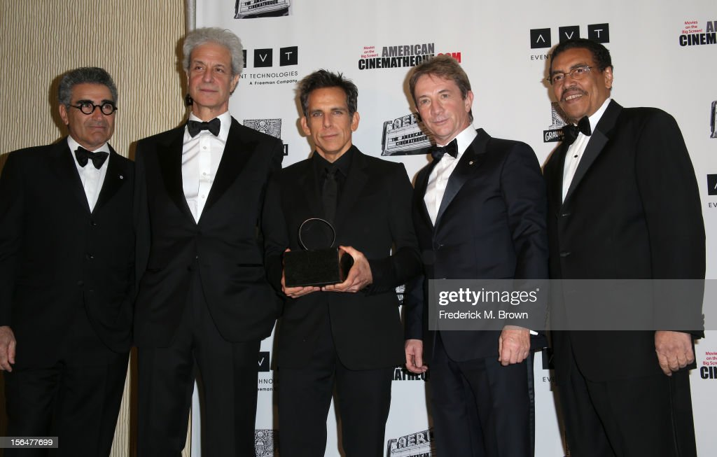 Actor <a gi-track='captionPersonalityLinkClicked' href=/galleries/search?phrase=Eugene+Levy&family=editorial&specificpeople=215201 ng-click='$event.stopPropagation()'>Eugene Levy</a>, American Cinematheque Chairman <a gi-track='captionPersonalityLinkClicked' href=/galleries/search?phrase=Rick+Nicita&family=editorial&specificpeople=651270 ng-click='$event.stopPropagation()'>Rick Nicita</a>, honoree and actor <a gi-track='captionPersonalityLinkClicked' href=/galleries/search?phrase=Ben+Stiller&family=editorial&specificpeople=201806 ng-click='$event.stopPropagation()'>Ben Stiller</a> (holding American Cinematheque Award), actor <a gi-track='captionPersonalityLinkClicked' href=/galleries/search?phrase=Martin+Short&family=editorial&specificpeople=211569 ng-click='$event.stopPropagation()'>Martin Short</a>, and President of the American Cinematheque Henry Shields Jr.attend the 26th American Cinematheque Award Gala honoring <a gi-track='captionPersonalityLinkClicked' href=/galleries/search?phrase=Ben+Stiller&family=editorial&specificpeople=201806 ng-click='$event.stopPropagation()'>Ben Stiller</a> at The Beverly Hilton Hotel on November 15, 2012 in Beverly Hills, California.