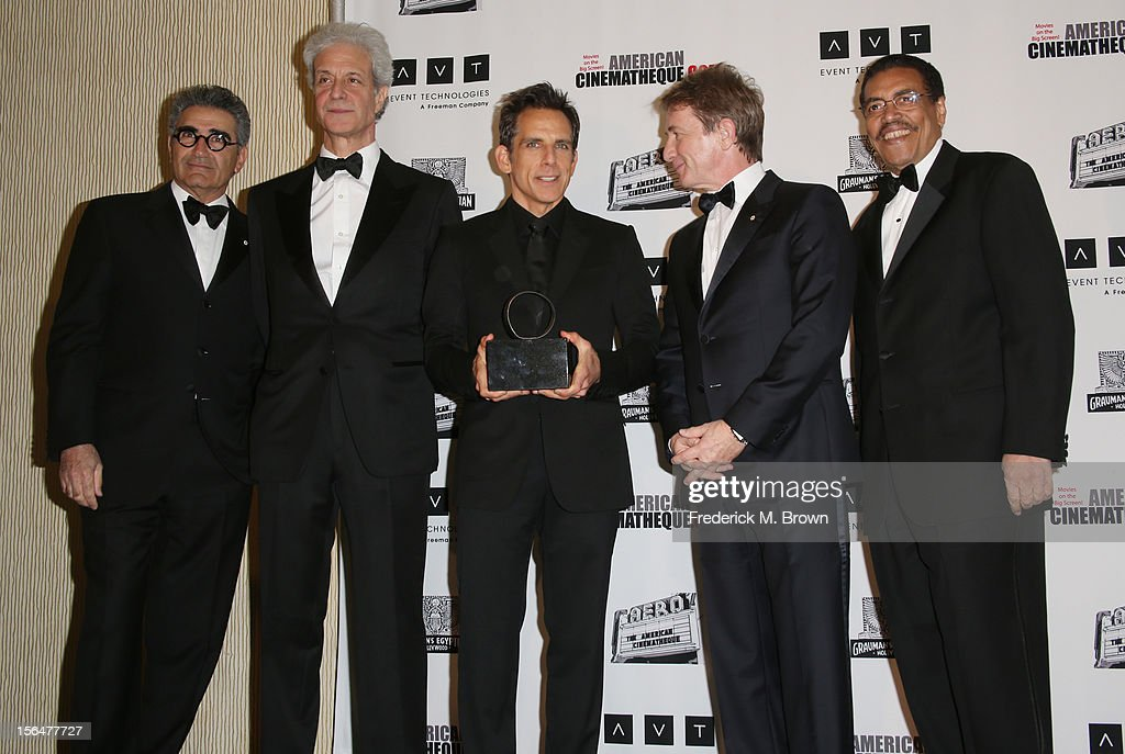 Actor Eugene Levy, American Cinematheque Chairman Rick Nicita, honoree and actor Ben Stiller (holding American Cinematheque Award), actor Martin Short, and President of the American Cinematheque Henry Shields Jr.attend the 26th American Cinematheque Award Gala honoring Ben Stiller at The Beverly Hilton Hotel on November 15, 2012 in Beverly Hills, California.