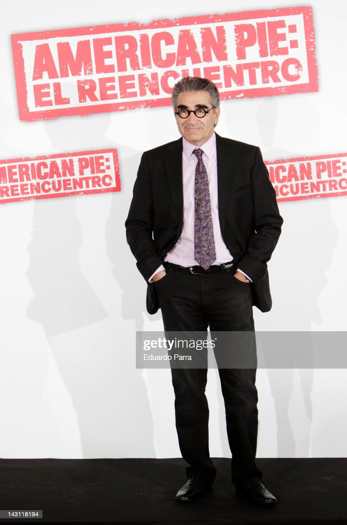Actor <a gi-track='captionPersonalityLinkClicked' href=/galleries/search?phrase=Eugene+Levy&family=editorial&specificpeople=215201 ng-click='$event.stopPropagation()'>Eugene Levy</a> attend 'American Pie: Reunion' (American Pie: El Reencuentro) photocall at Villamagna Hotel on April 19, 2012 in Madrid, Spain.