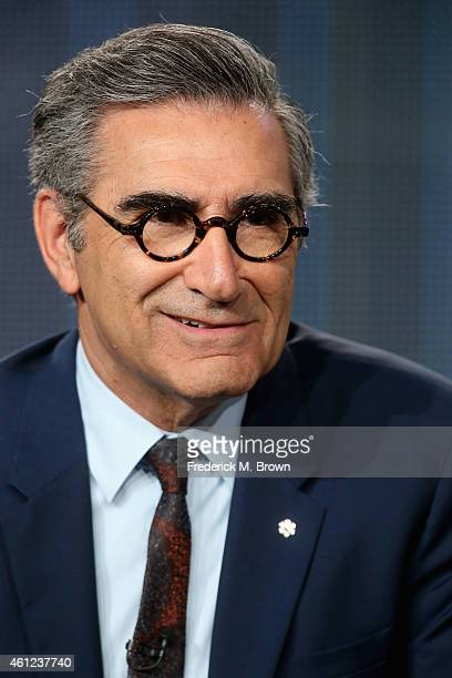 Actor Eugene Levy speaks onstage during the 'Schitt's Creek' panel at the Pop Network portion of the 2015 Winter Television Critics Association press...