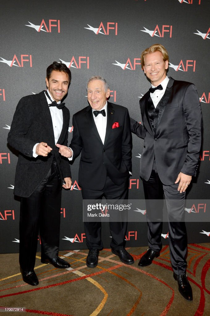 Actor Eugenio Derbez, honoree <a gi-track='captionPersonalityLinkClicked' href=/galleries/search?phrase=Mel+Brooks&family=editorial&specificpeople=208129 ng-click='$event.stopPropagation()'>Mel Brooks</a>, and Executive Vice President & Chief Marketing Officer at MGM Networks Latin America Marcello Coltro attend AFI's 41st Life Achievement Award Tribute to <a gi-track='captionPersonalityLinkClicked' href=/galleries/search?phrase=Mel+Brooks&family=editorial&specificpeople=208129 ng-click='$event.stopPropagation()'>Mel Brooks</a> at Dolby Theatre on June 6, 2013 in Hollywood, California. 23647_005_MD_0103.JPG