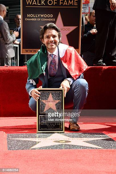 Actor Eugenio Derbez poses for a photo as he is honored with a Star on the Hollywood Walk of Fame on March 10 2016 in Hollywood California