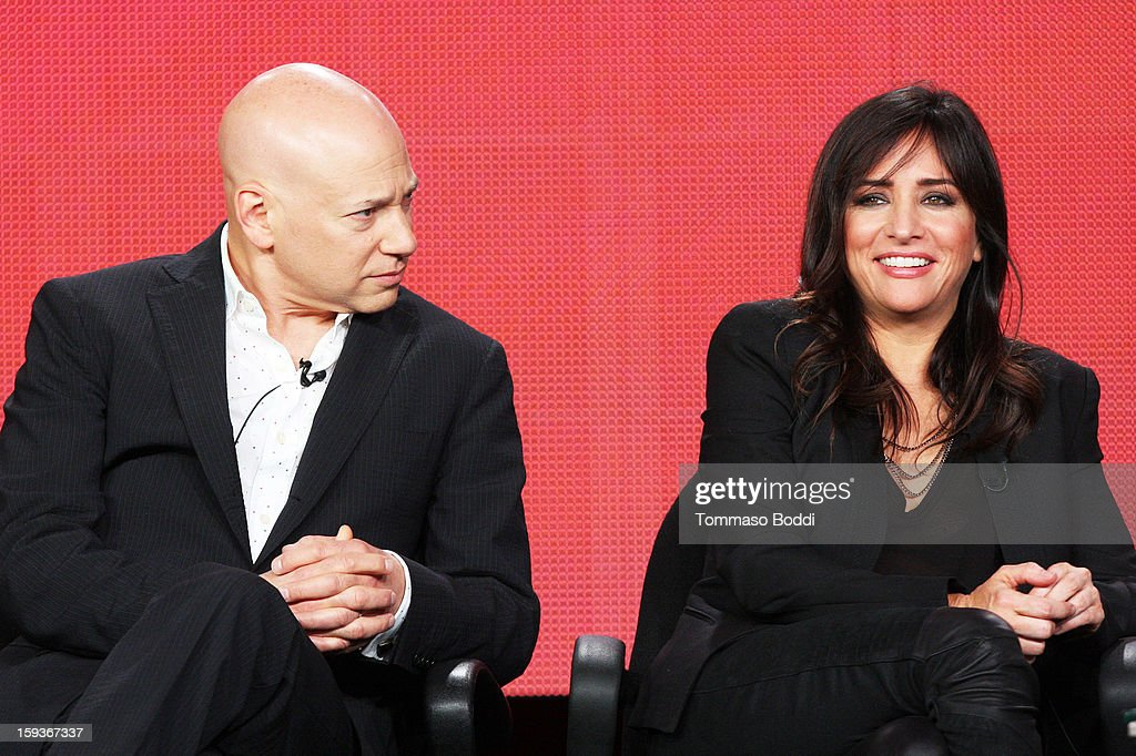 Actor Evan Handler (L) and actress Pamela Adlon of the TV show 'Californication' attend the 2013 TCA Winter Press Tour CW/CBS panel held at The Langham Huntington Hotel and Spa on January 12, 2013 in Pasadena, California.