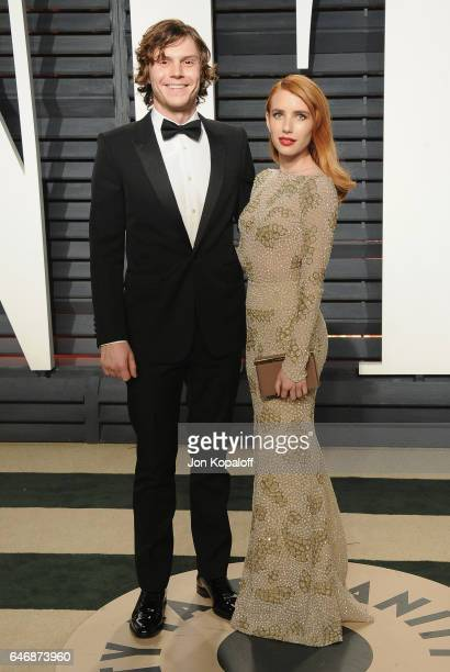 Actor Evan Peters and actress Emma Roberts arrive at the 2017 Vanity Fair Oscar Party Hosted By Graydon Carter at Wallis Annenberg Center for the...