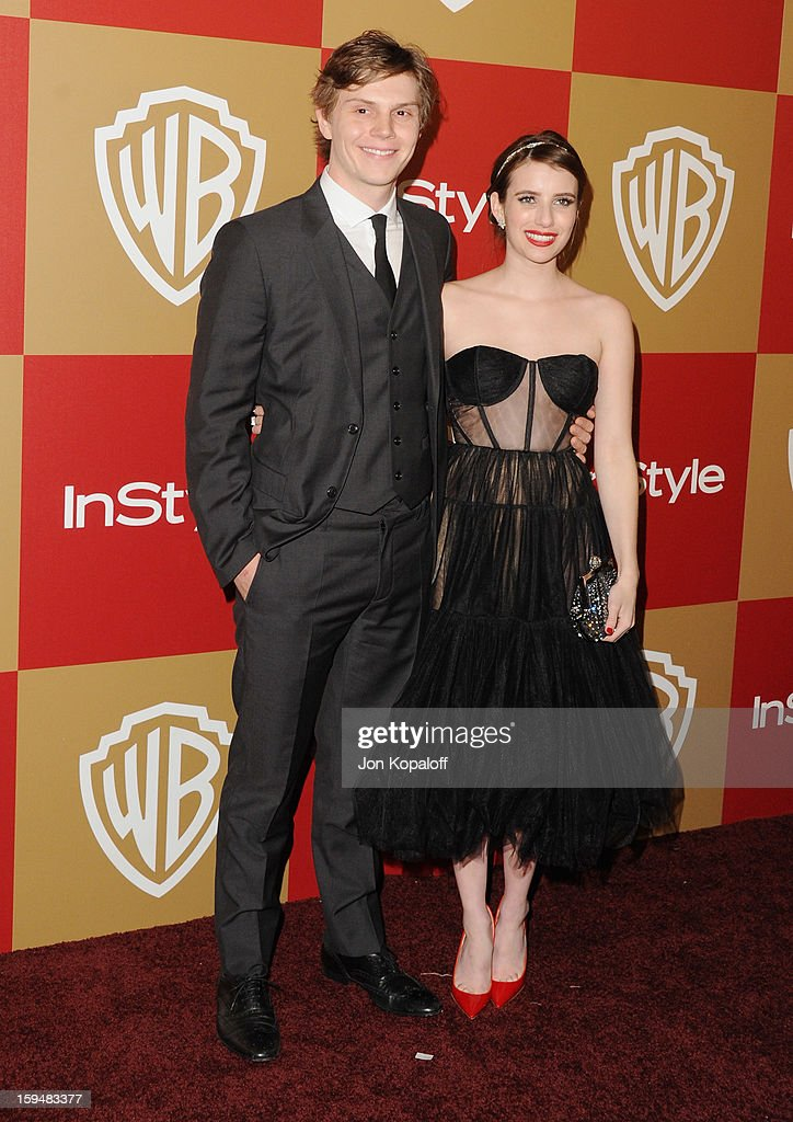 Actor Evan Peters and actress Emma Roberts arrive at the InStyle And Warner Bros. Golden Globe Party at The Beverly Hilton Hotel on January 13, 2013 in Beverly Hills, California.
