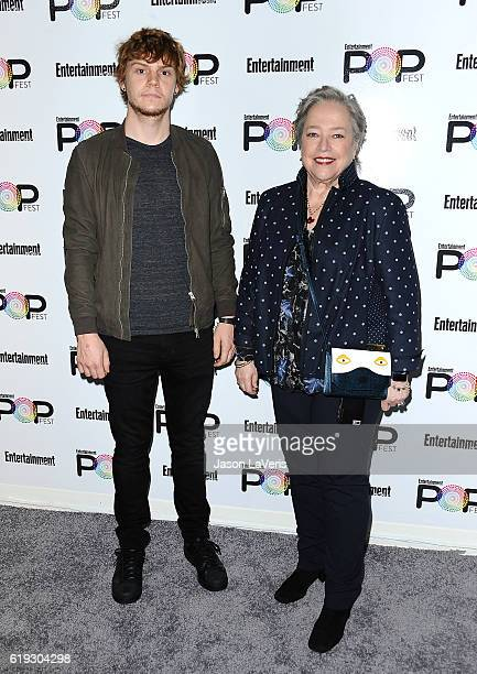 Actor Evan Peters and actress Kathy Bates attend Entertainment Weekly's Popfest at The Reef on October 30 2016 in Los Angeles California