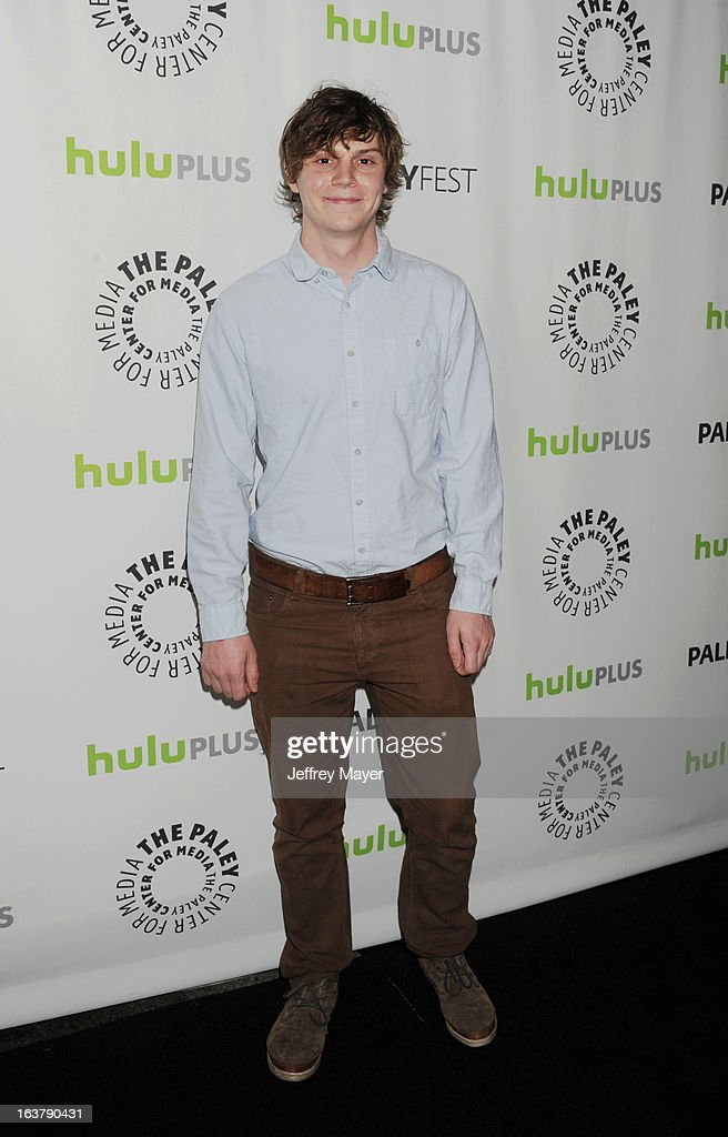 Actor <a gi-track='captionPersonalityLinkClicked' href=/galleries/search?phrase=Evan+Peters&family=editorial&specificpeople=2301160 ng-click='$event.stopPropagation()'>Evan Peters</a> arrives at the 30th Annual PaleyFest: The William S. Paley Television Festival - Closing Night Presentation honoring 'American Horror Story' at Saban Theatre on March 15, 2013 in Beverly Hills, California.