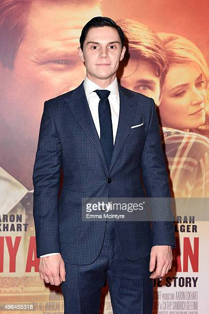 Actor Evan Peters attends the premiere of Clarius Entertainment's 'My All American' at The Grove on November 9 2015 in Los Angeles California