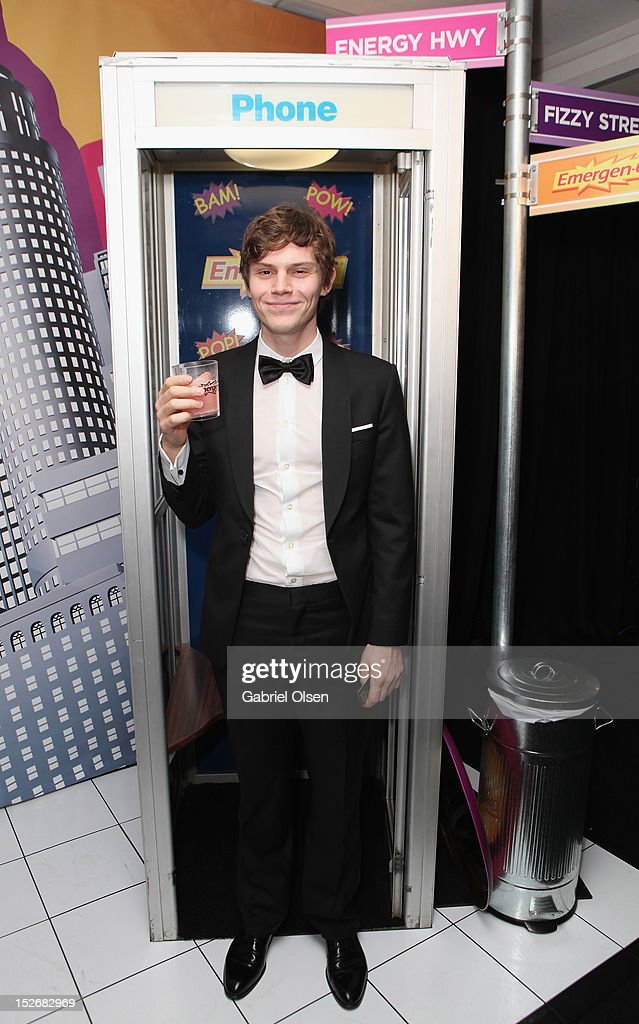 Actor <a gi-track='captionPersonalityLinkClicked' href=/galleries/search?phrase=Evan+Peters&family=editorial&specificpeople=2301160 ng-click='$event.stopPropagation()'>Evan Peters</a> poses with Emergen-C in the Presenters Gift Lounge Backstage in celebration of the 64th Primetime Emmy Awards produced by On 3 Productions at Nokia Theatre L.A. Live on September 23, 2012 in Los Angeles, California.