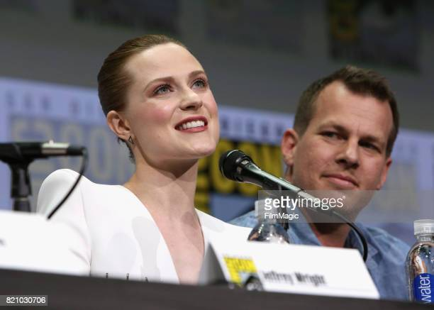 Actor Evan Rachel Wood and writer/producer Jonathan Nolan attend the 'Westworld' panel during San Diego ComicCon 2017 at San Diego Convention Center...