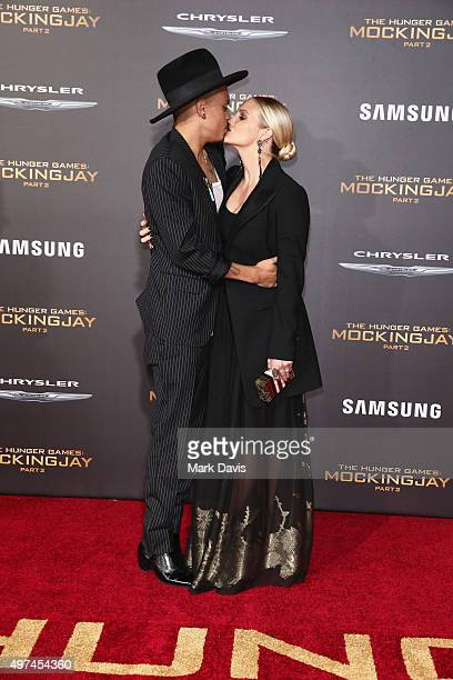 Actor Evan Ross and recording artist Ashlee Simpson attend premiere of Lionsgate's 'The Hunger Games Mockingjay Part 2' at Microsoft Theater on...