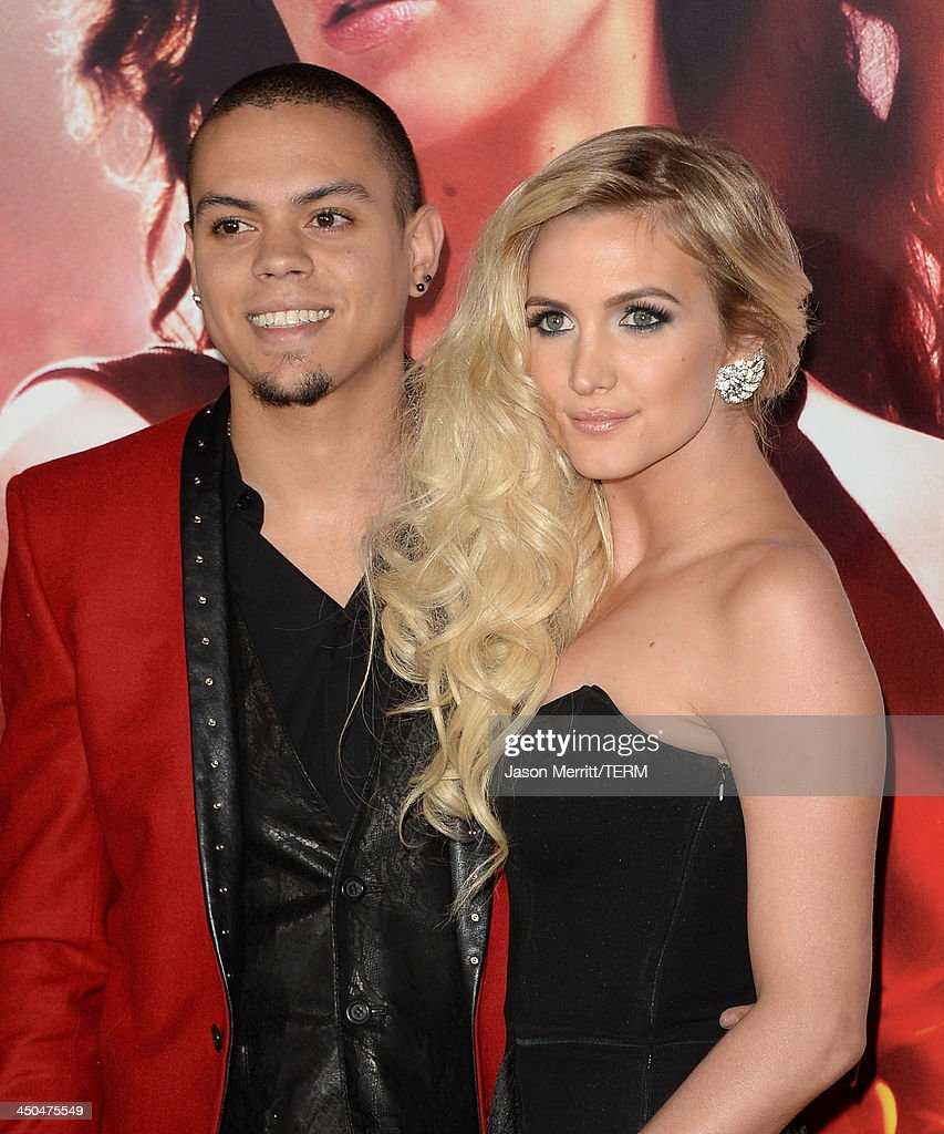 Actor Evan Ross (L) and Singer Ashlee Simpson arrive at the premiere of Lionsgate's 'The Hunger Games: Catching Fire' at Nokia Theatre L.A. Live on November 18, 2013 in Los Angeles, California.