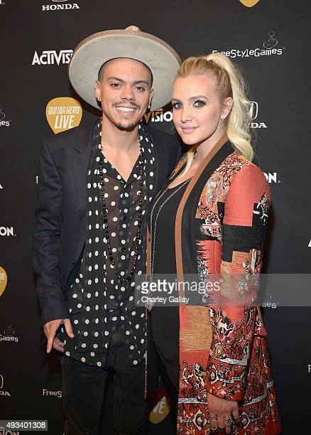 Actor Evan Ross and singer Ashlee Simpson attend Activision's Guitar Hero Live launch party in Los Angeles on October 19 2015