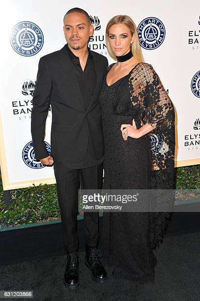 Actor Evan Ross and singer Ashlee Simpson attend Stevie Wonder's HEAVEN 10th Anniversary celebration presented by The Art of Elysium at Red Studios...