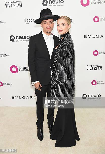 Actor Evan Ross and singer Ashlee Simpson attend the 24th Annual Elton John AIDS Foundation's Oscar Viewing Party at The City of West Hollywood Park...