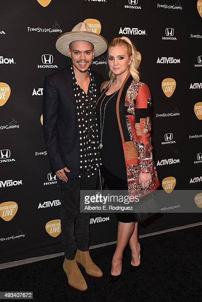 Actor Evan Ross and singer Ashlee Simpson attend the Guitar Hero Live Launch Party at YouTube Space LA on October 19 2015 in Los Angeles California