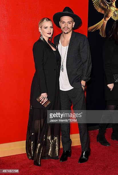 Actor Evan Ross and singer/songwriter Ashlee Simpson attend the premiere of Lionsgate's 'The Hunger Games Mockingjay Part 2' at Microsoft Theater on...