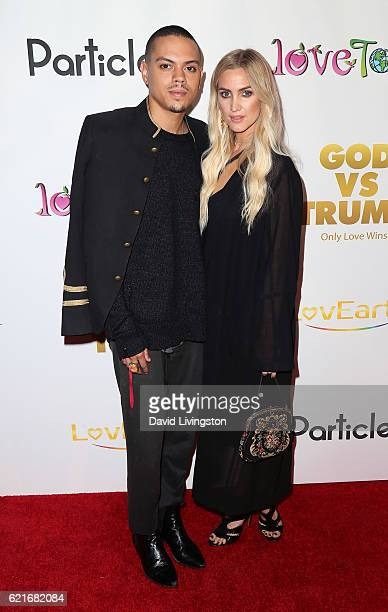 Actor Evan Ross and wife singer Ashlee Simpson attend the premiere of 'God vs Trump' at TCL Chinese Theatre on November 7 2016 in Hollywood California