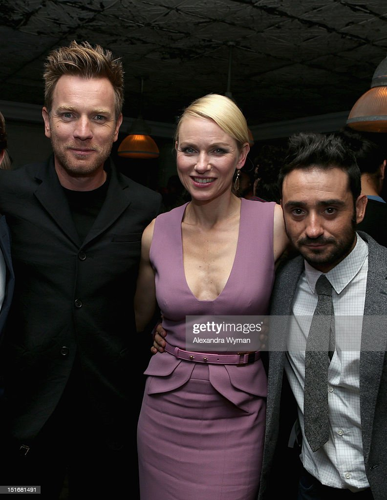 Actor Ewan McGregor, actress Naomi Watts and director Juan Antonio Bayona attend the Grey Goose Vodka party for 'The Impossible' at Soho House Toronto on September 9, 2012 in Toronto, Canada.