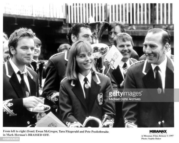 Actor Ewan McGregor actress Tara Fitzgerald and Pete Postlethwaite on set of the movie 'Brassed Off ' circa 1996