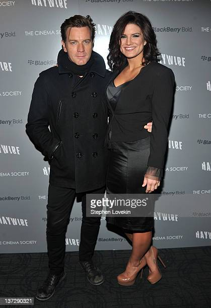 Actor Ewan McGregor and actress Gina Carano attend the Cinema Society Blackberry Bold screening of 'Haywire' at Landmark Sunshine Cinema on January...