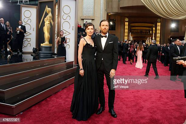 Actor Ewan McGregor and Eve Mavrakis attend the 86th Oscars held at Hollywood Highland Center on March 2 2014 in Hollywood California