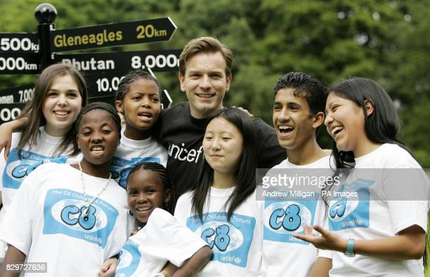 Actor Ewan McGregor at a photocall with children involved in the C8 summit being held at Dunblane Hydro prior to the main G8 summit being held at...