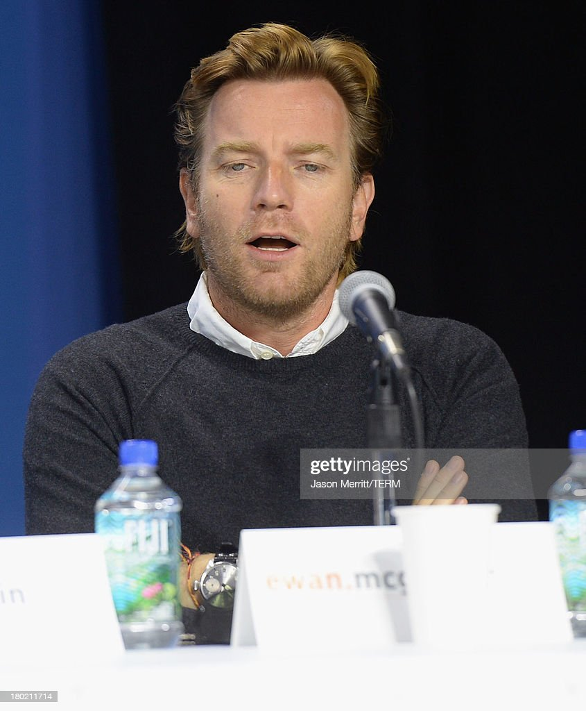Actor <a gi-track='captionPersonalityLinkClicked' href=/galleries/search?phrase=Ewan+McGregor&family=editorial&specificpeople=202863 ng-click='$event.stopPropagation()'>Ewan McGregor</a> speaks onstage at 'August: Osage County' Press Conference during the 2013 Toronto International Film Festival at TIFF Bell Lightbox on September 10, 2013 in Toronto, Canada.