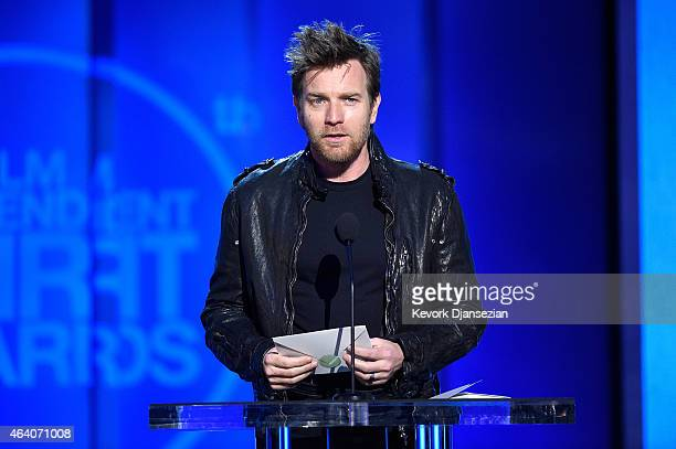 Actor Ewan McGregor speaks onstage during the 2015 Film Independent Spirit Awards at Santa Monica Beach on February 21 2015 in Santa Monica California