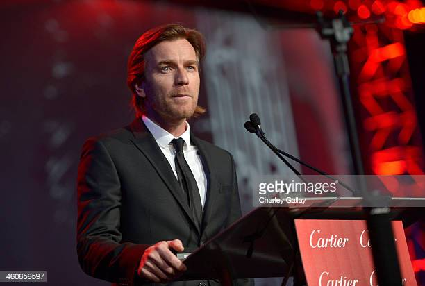 Actor Ewan McGregor speaks onstage during the 25th annual Palm Springs International Film Festival awards gala at Palm Springs Convention Center on...