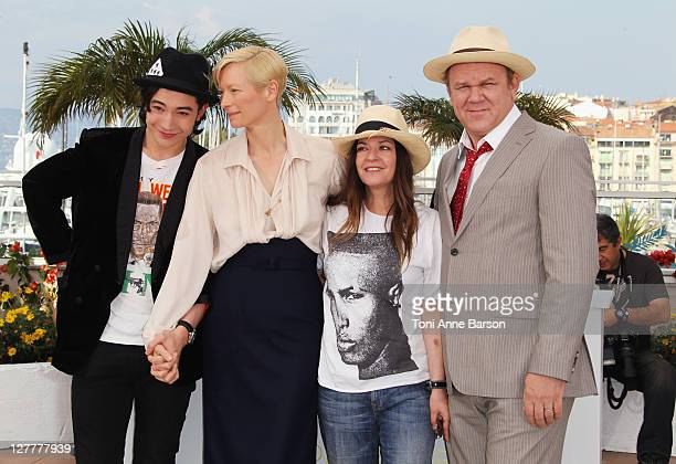 Actor Ezra Miller actress Tilda Swinton Director/writer Lynne Ramsay and actor John C Reilly attend the 'We Need To Talk About Kevin' Photocall at...